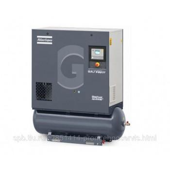 Винтовой компрессор Atlas Copco GA15 VSD 13FF на ресивере 270 л